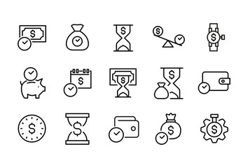 Set of time is money related vector line icons.