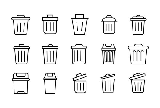 Set of trash can related vector line icons.