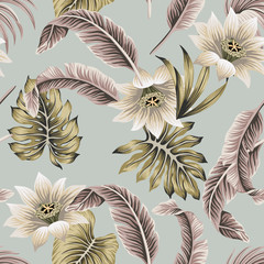 Tropical vintage white hibiscus, palm leaves floral seamless pattern grey background. Exotic jungle wallpaper.