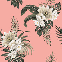 Tropical vintage white hibiscus, white orchid, palm leaves floral seamless pattern pink background. Exotic jungle wallpaper.