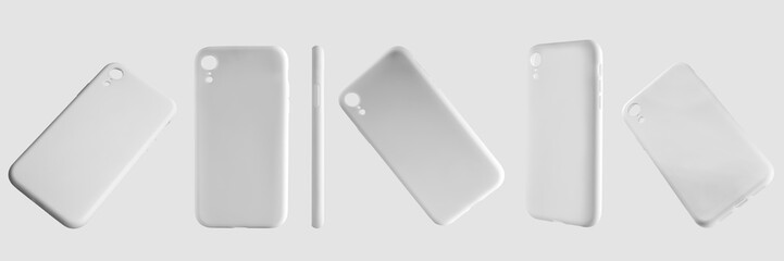 Mockup of white smartphone cases, containers with 6 different positions.
