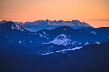 Photo sur Aluminium Bleu nuit High Tatras panorama. Photo from Hill Krizna in slovakian mountains Velka Fatra. Sunrise light