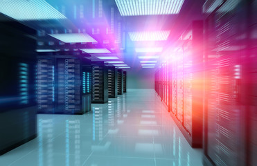 Servers data center room with bright speed light through the corridor 3D rendering Fototapete