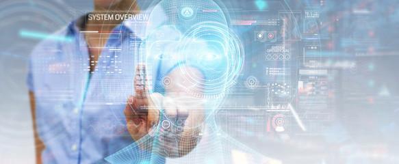 Woman using digital artificial intelligence head interface 3D rendering