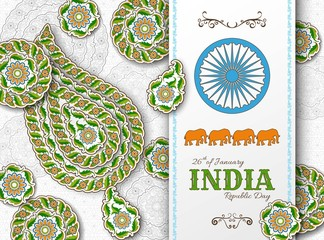 Indian Republic Day background with paisley and mandala. Greeting card, banner or poster with arabesque floral pattern
