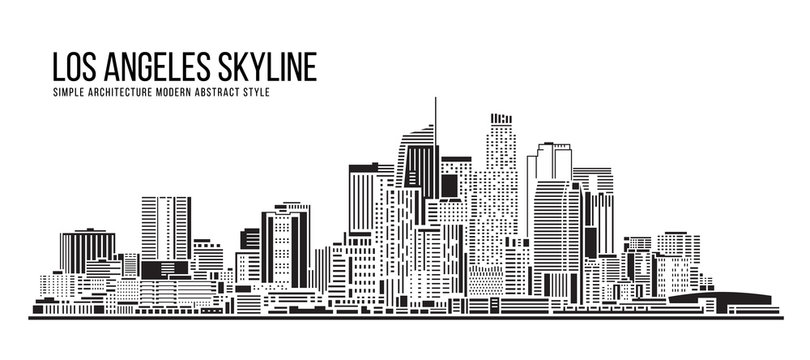 Cityscape Building Simple architecture modern abstract style art Vector Illustration design -  Los Angeles city