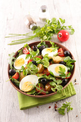 Fototapete - mixed vegetable salad with potato, olive, tomato and egg