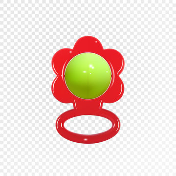Colorful realistic baby rattle toy on transparent background. Icon. Vector illustration eps10.