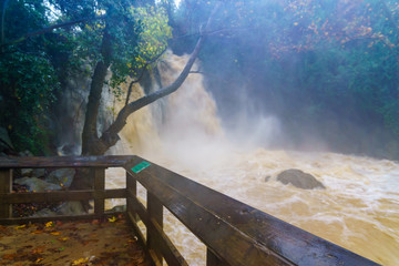 Strong winter waterflow in the Banias waterfall