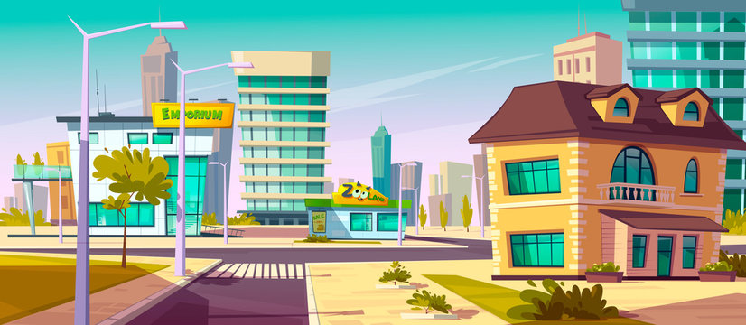 Urban street landscape with shopping mall and residential buildings in background, cartoon vector. Cityscape with crossroads, sidewalk, building facades, pet-shop, town poster