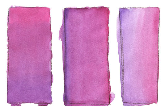 Rectangle watercolor fill color with black outline. Gradient, paper texture. For the background.
