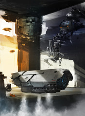 Spaceship launching from Spacehangar - digital painting - Science Fiction concept