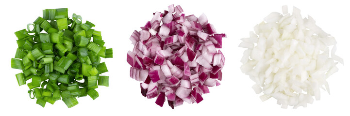 Fototapeta Heap of diced red, green, white onion. A set of three types. Isolate on a white background, top view. obraz