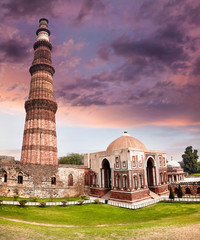 Autocollant pour porte Fleur Qutub Minar Tower in New Delhi, India