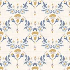 French shabby chic damask vector texture background. Dainty flower in blue and yellow on off white seamless pattern. Hand drawn floral interior home decor swatch. Classic farmouse style all over print