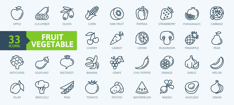 Fruits and vegetables - thin line web icon set. Outline icons collection. Simple vector illustration.