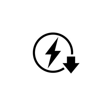 Energy reduction outline icon. Clipart image isolated on white background