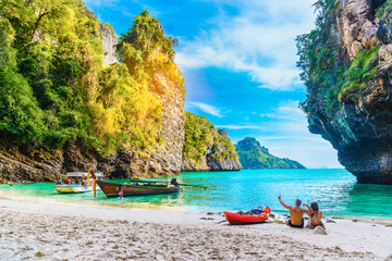 Landscape of nature scenic sea beach on small island in Krabi, Activity happy couple traveler, Travel Phuket Thailand, Tourism beautiful destination place Asia, Summer holiday outdoor vacation trips Fotomurales