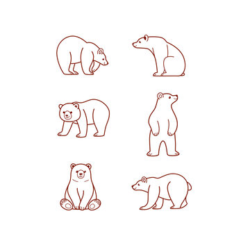 Cartoon animal icon set. Different poses of bear. Vector illustration for prints, clothing, packaging, stickers.