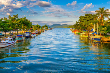 Acrylic Prints Brazil Canal in historical center of Paraty, Rio de Janeiro, Brazil. Paraty is a preserved Portuguese colonial and Brazilian Imperial municipality. Cityscape of Paraty