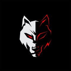simple wolf logo gaming eyes sharp white and red vector