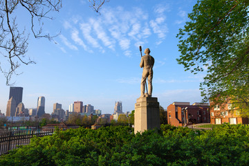 Pittsburgh, Pennsylvania, United States - View of city downtown from Allegheny Commons Park.