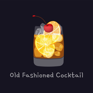 Tasty alcoholic old fashioned cocktail with orange slice, cherry, and lemon peel garnish with ice cubes, isolated on black background. Vector illustration