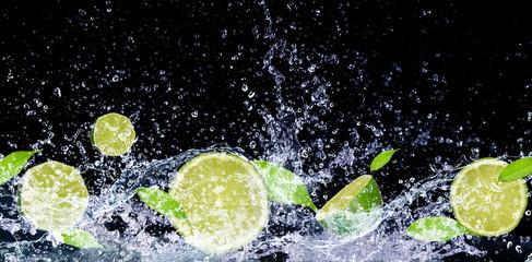 lime in water splash Wall mural