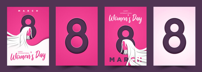 8 March international Women's day 3d cutout background cover poster illustration vector collection Fototapete