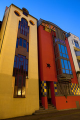 Frankfurt, Hesse, Germany - Colorful houses of avant garde architecture at downtown.
