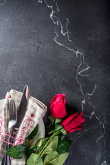 Valentines day table place setting. Romantic holidays background above copy space for test