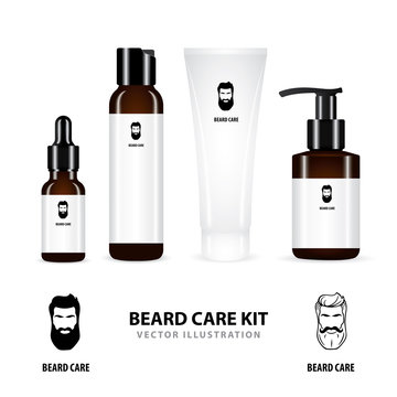 Beard care. Realistic beard care cosmetic bottles and package vector illustrations set isolated on white background. Realistic bottle, tube, dispenser and container for beard care cosmetic. Part of se