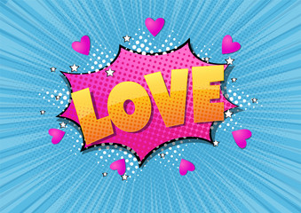 Comic bubble heart shape love pop art retro style. Romance and Valentines day. Love cartoon explosion. Falling in love. Fototapete