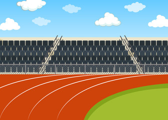 Background scene of running field with stadium