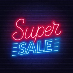 Fototapete - Super sale neon sign on dark background. Template for design.