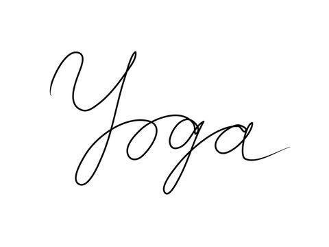 Yoga handwritten text inscription. Modern hand drawing calligraphy. Word illustration black