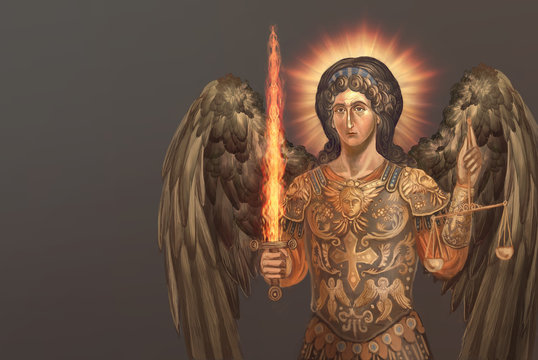 st. archangel Michael with burning sword
