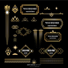 Set of Art Deco / Art Nuvo labels and frames and objects golden black