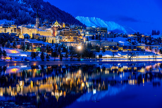 View of St. Moritz in Switzerland at night in winter