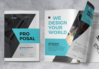 Project Proposal Brochure Layout with Blue Accents