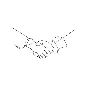 continuous line drawing of handshake business agreement. Vector illustration