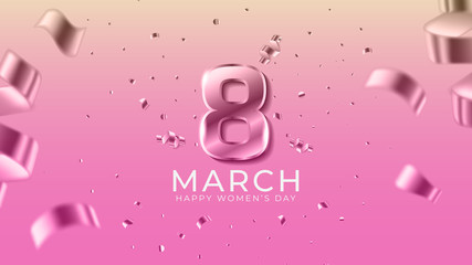 8th march happy women's day. International women's day with pink background and spark confetti. Happy mother's day. Illustration vector EPS 10.