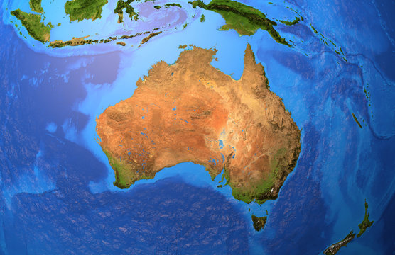 Australia - High resolution physical map