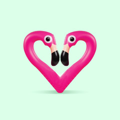 Card for Saint Valentine's Day. Pink flamingo shaped of heart on green background. Copyspace. Modern design. Contemporary colorful and conceptual bright art collage. Romantic, love concept.