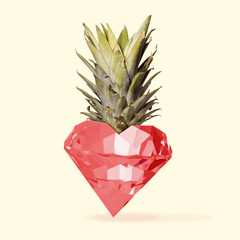 Card for Saint Valentine's Day. Pineapple as a diamond shaped of heart on yellow background. Copyspace. Modern design. Contemporary colorful and conceptual bright art collage. Romantic, love concept.