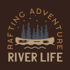 River Life Logo Design. Rafting adventure badge patch. Camp design for t-shirt, other prints. Outdoor insignia label. Stock vector