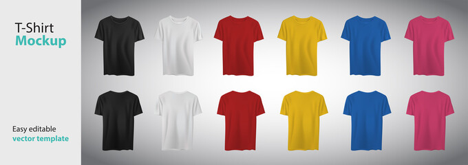 Different colors t-shirt with short sleeve mockup. Vector template.