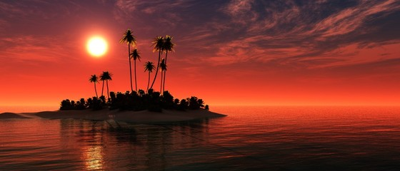 Beautiful sea sunset with tropical island with palm trees. 3D rendering