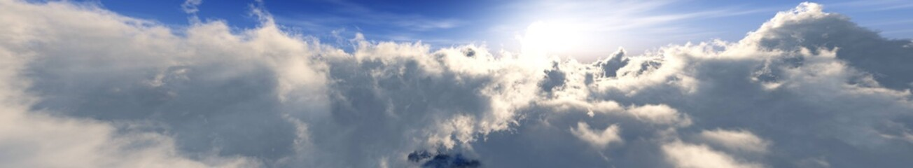 Foto op Plexiglas Grijs Beautiful panorama of clouds. Banner. Top view of the clouds. Among the clouds. 3D rendering