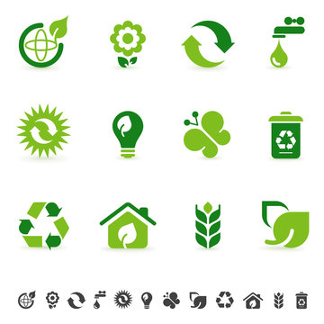 Environment icons, green design elements, sustainable energy